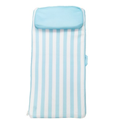 COMFY FLOATS No Inflate Sun Bed Single Person Water Lounger Pool and Lake Float with Pillow Headrest and Removable Soft Mesh Cover