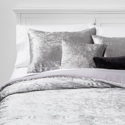 King Cortina Crinkle Velvet 5pc Bed Set Gray
