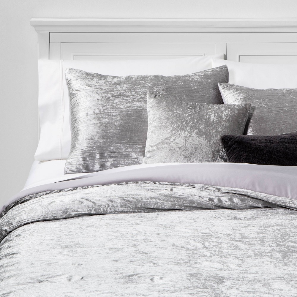 Image of Full/Queen Cortina Crinkle Velvet 5pc Bed Set Gray