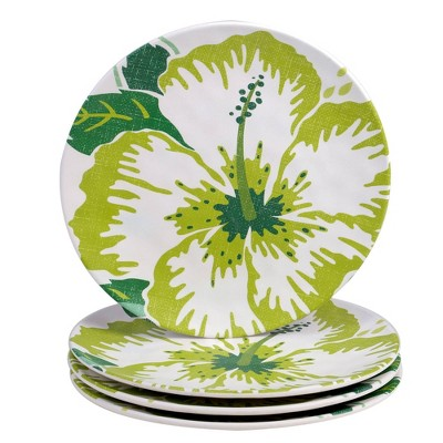 "9"" 4pk Melamine Tropicali Salad Plates Green - Certified International"
