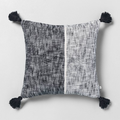 "18"" x 18"" Block Stripes Throw Pillow Railroad Gray - Hearth & Hand™ with Magnolia"