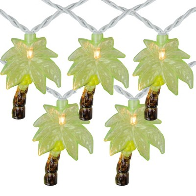 Northlight 10-Count Green Tropical Palm Tree Outdoor Patio String Light Set, 7.25ft White Wire