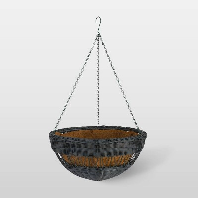 "17"" Resin Wicker Hanging Basket Black - DMC Products"