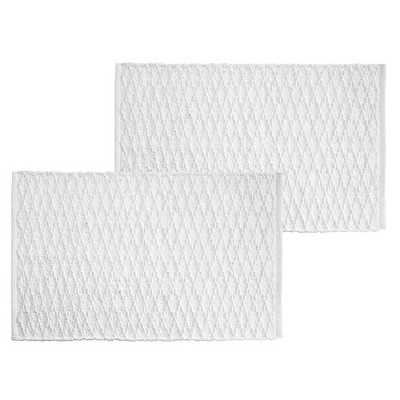 "mDesign Cotton Spa Mat Accent Rug, Diamond Design, 34"" x 21"" - 2 Pack - White"