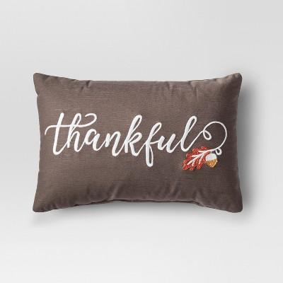 Brown Thankful Lumbar Throw Pillow - Threshold™