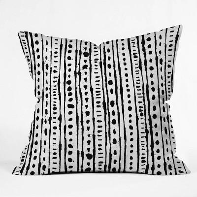 "16""x16"" Andi Bird Ink Striped Throw Pillow Black/White - Deny Designs"