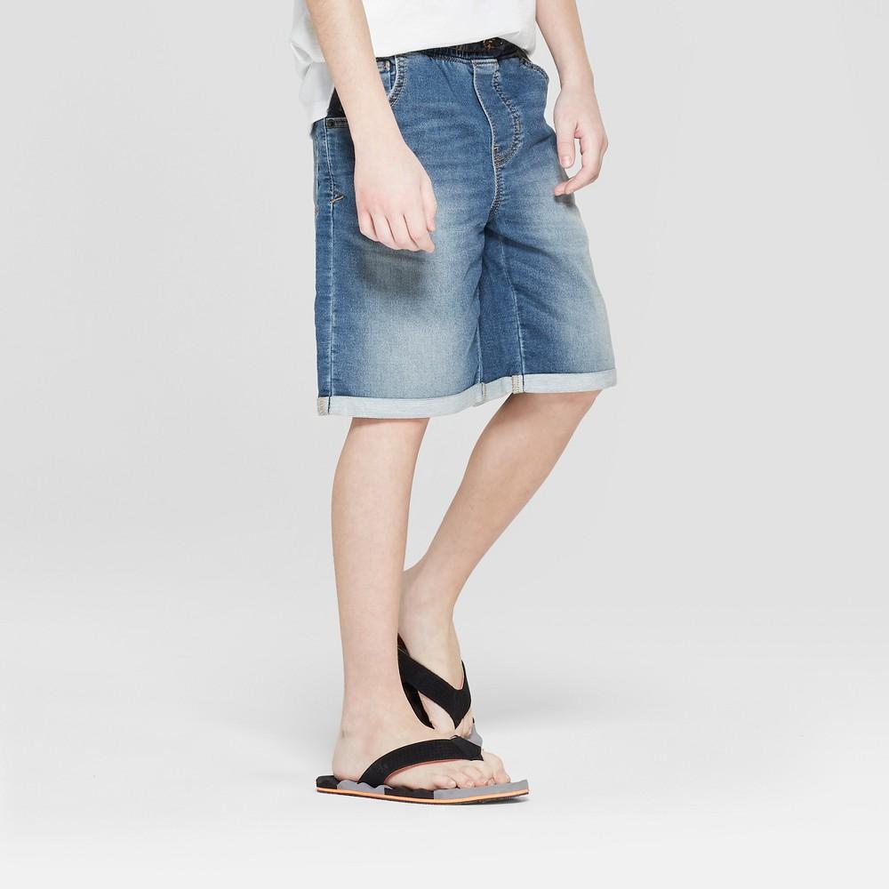 Image of Boys' Adjustable Waist Knit Jean Shorts - Cat & Jack Medium Wash S, Boy's, Size: Small, Blue