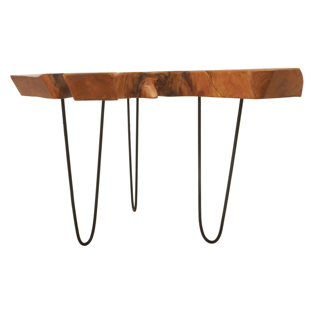 Rustic Teak and Iron Cross Cut Teak Top Accent Table Brown - Olivia & May