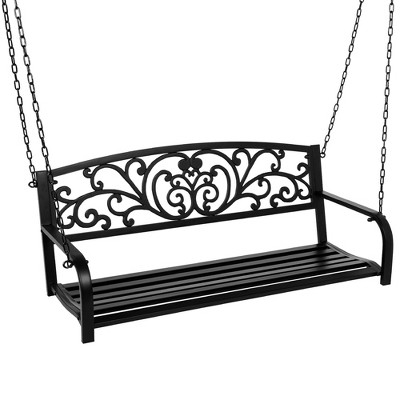 Best Choice Products 2-Person Metal Outdoor Porch Swing, Hanging Steel Patio Bench w/ Floral Accent - Black