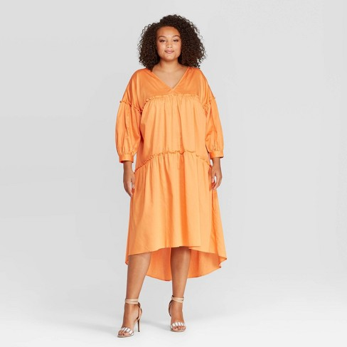Women's Plus Size Long Sleeve V-Neck Tiered Tent Midi Dress - Who What Wear™ Gold - image 1 of 3
