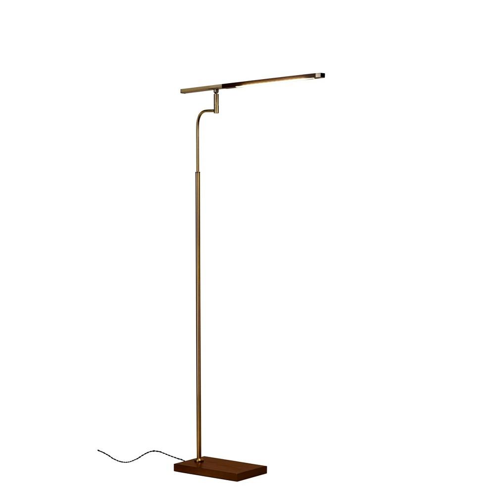 Image of 3-way Barrett LED Floor Lamp Brass (Includes Energy Efficient Light Bulb) - Adesso