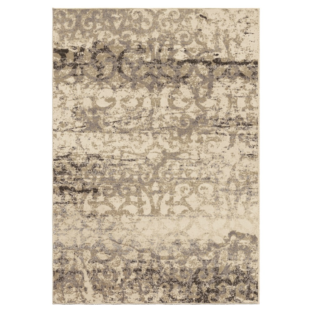 Ivory Abstract Woven Area Rug - (7'10