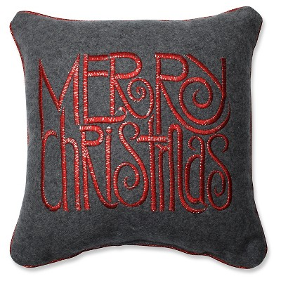 Gray Throw Pillow Merry Christmas (11.5 x11.5 )- Pillow Perfect®
