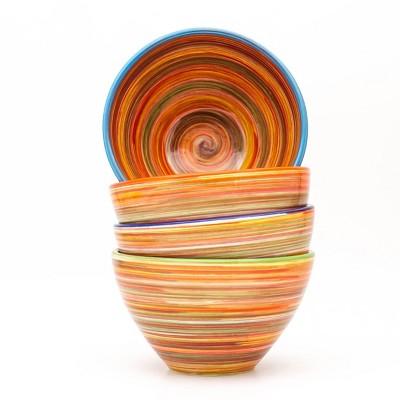 24oz 4pk Ceramic Raia Assorted Cereal Bowls Orange  - Euro Ceramica