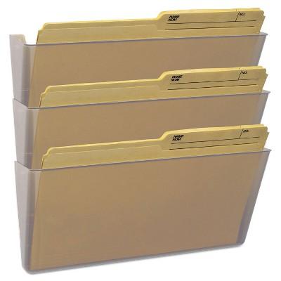 Storex Wall File Legal 16 x 14 Three Pocket Clear 70229U06C
