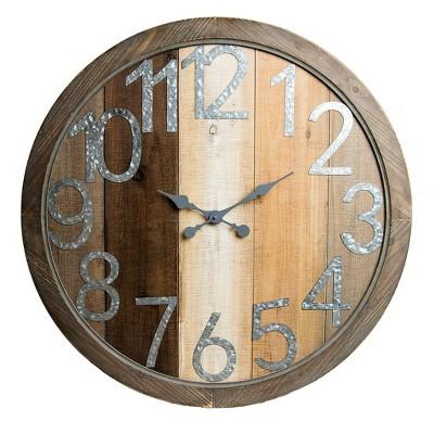 36  Rustic Wood Shiplap and Metal Framed Wall Clock Natural - Patton Wall Decor