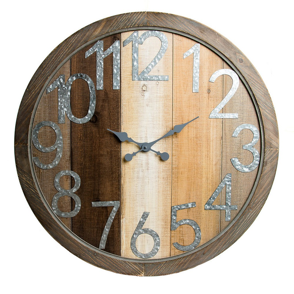 36 Rustic Wood Shiplap and Metal Framed Wall Clock Natural - Patton Wall Decor