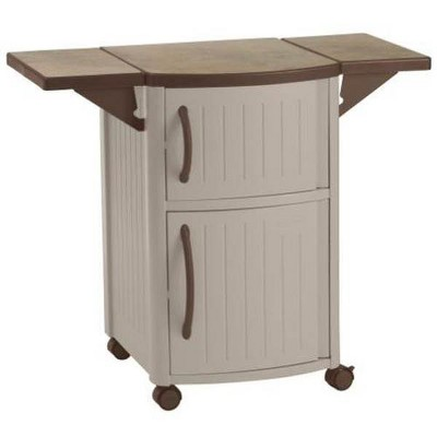 Suncast DCP2000 Portable Outdoor Resin Patio Grilling Entertainment Serving Prep Station Table with Cabinet Storage and Drop Leaf Extensions, Beige