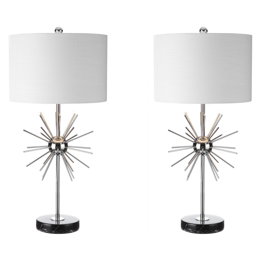 31.5 Aria Metal/Marble Led Table Lamp Set Of 2 Chrome (Grey) (Includes Energy Efficient Light Bulb) - Jonathan Y
