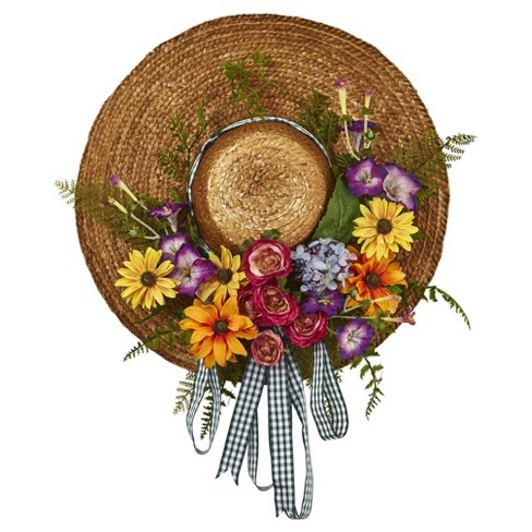 Mixed Flower Hat Wreath - Nearly Natural - image 1 of 3