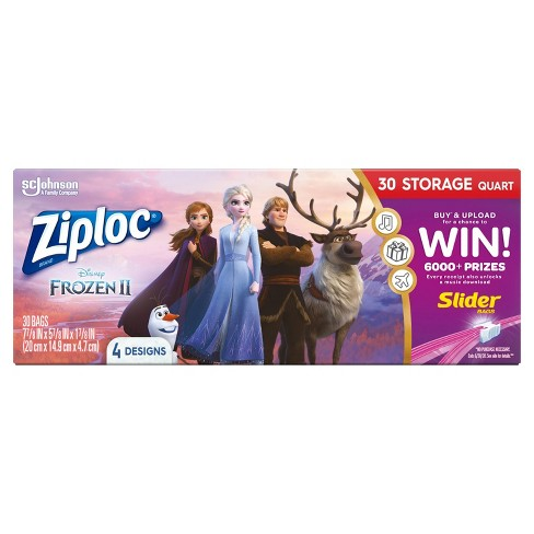 Ziploc Brand Storage Slider Quart Bags - Disney's Frozen 2 - 30ct - image 1 of 4