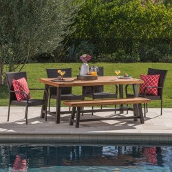 Cooper 6pc Acacia Wood and Wicker Dining Set - Brown - Christopher Knight Home