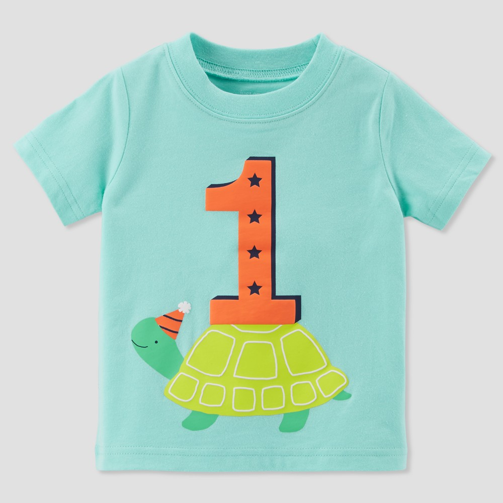 Baby Boys' 1 Turtle Short sleeve T - Shirt - Just One You made by carter's Turquoise 18M, Blue