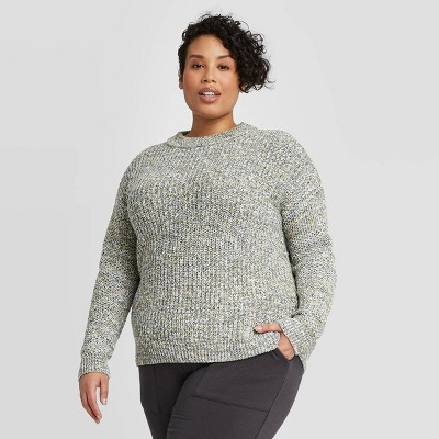 Women's Plus Size Crewneck Multi Texture Pullover Sweater- Ava &Viv™ Green 4X
