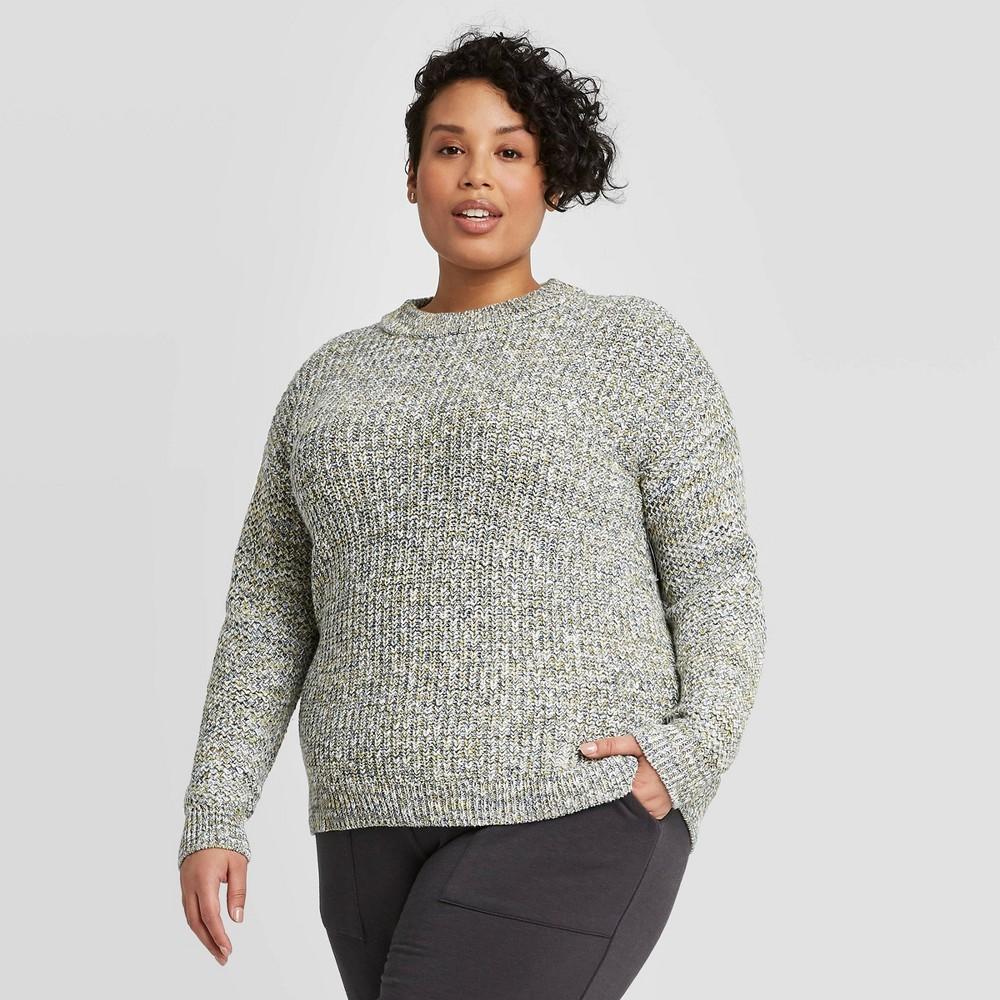Women's Plus Size Crewneck Multi Texture Pullover Sweater- Ava &Viv Green 1X was $29.99 now $20.99 (30.0% off)