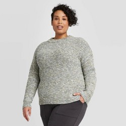 Women's Plus Size Crewneck Multi Texture Pullover Sweater- Ava & Viv™