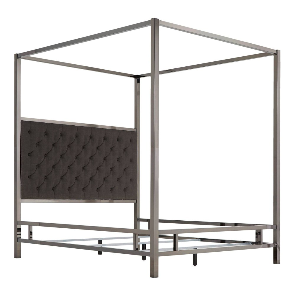 Queen Manhattan Black Nickel Canopy Bed with Diamond Tufted Headboard Charcoal (Grey) - Inspire Q