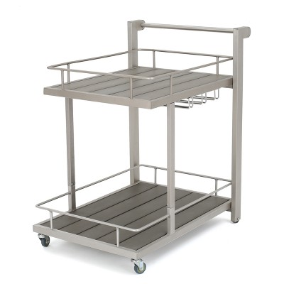 Cape Coral Aluminum Bar Cart - Natural - Christopher Knight Home