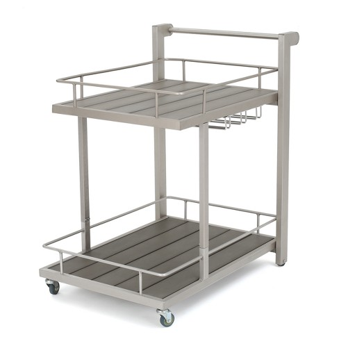 Cape Coral Aluminum Bar Cart - Natural - Christopher Knight Home - image 1 of 4