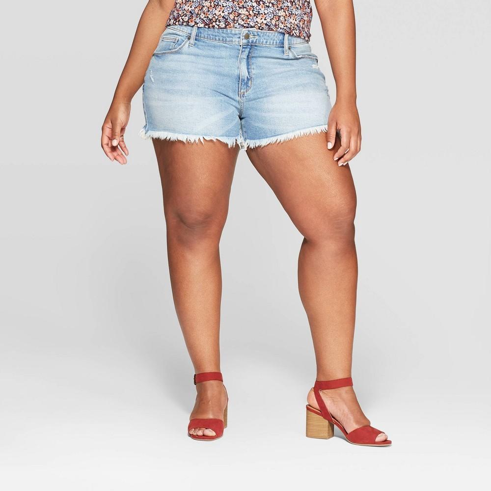 Women's Plus Size Mid-Rise Raw Hem Jean Shorts - Universal Thread Light Blue 16W