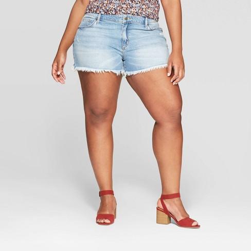 9b2682b7398 Women s Plus Size Mid-Rise Raw Hem Jean Shorts - Universal Thread™ Light  Blue   Target