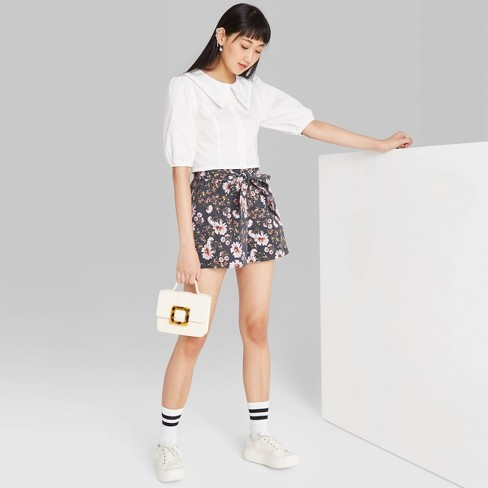 Women's Floral Print High-Rise Belted Paperbag Waist Shorts - Wild Fable™ Gray - image 1 of 3