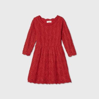 Toddler Girls' Sparkle Crochet Long Sleeve Dress - Cat & Jack™ Red 12M