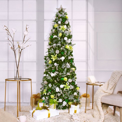 75ft pre lit artificial christmas tree led white rose garden easy set up