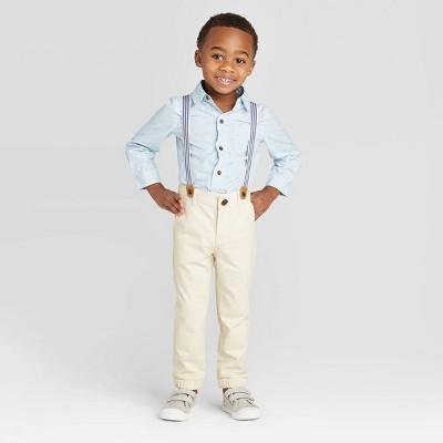 Toddler Boys' 2pc Striped Shirt & Bottom Set with Suspender - Cat & Jack™ Blue/Cream 12M