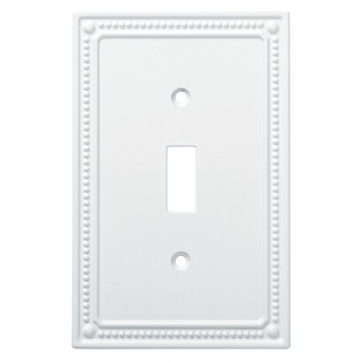 Classic Beaded Single Switch Wall Plate Pure White - Franklin Brass