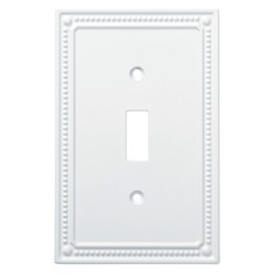 Franklin Brass Classic Beaded Single Switch Wall Plate White