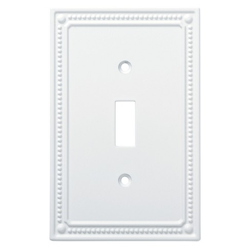 Classic Beaded Single Switch Wall Plate Pure White