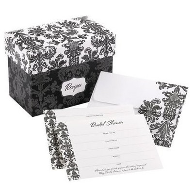 Damask Shower Invitations with Recipe Gift Box (25ct)
