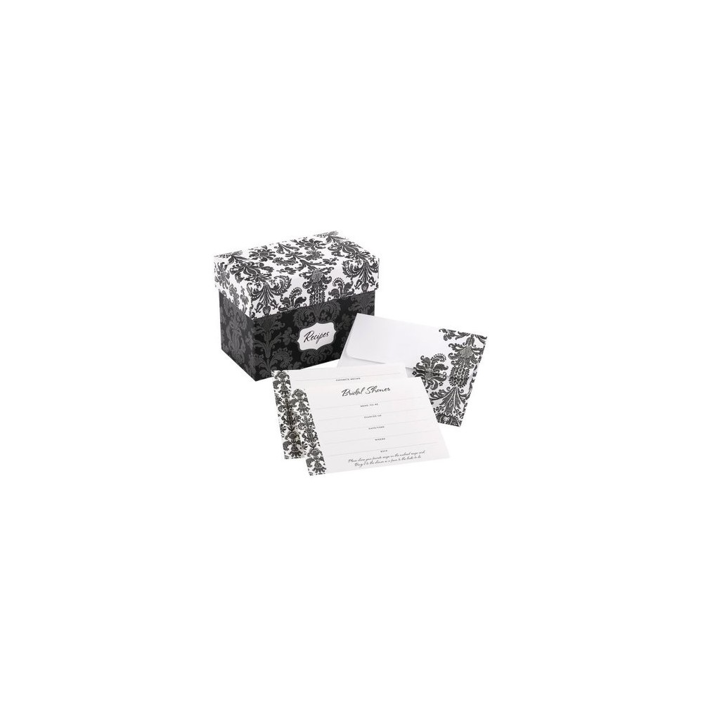 Damask Shower Invitations with Recipe Gift Box (25ct), Black/White