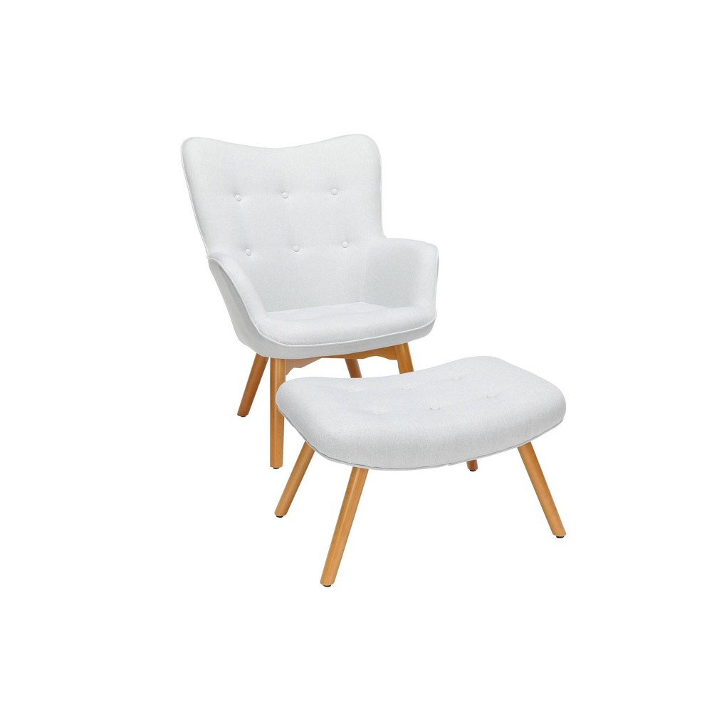 Image of 2pc Tufted Fabric Mid-Century Modern Lounge Chair with Ottoman Solid Honey Beechwood Legs Beige - OFM