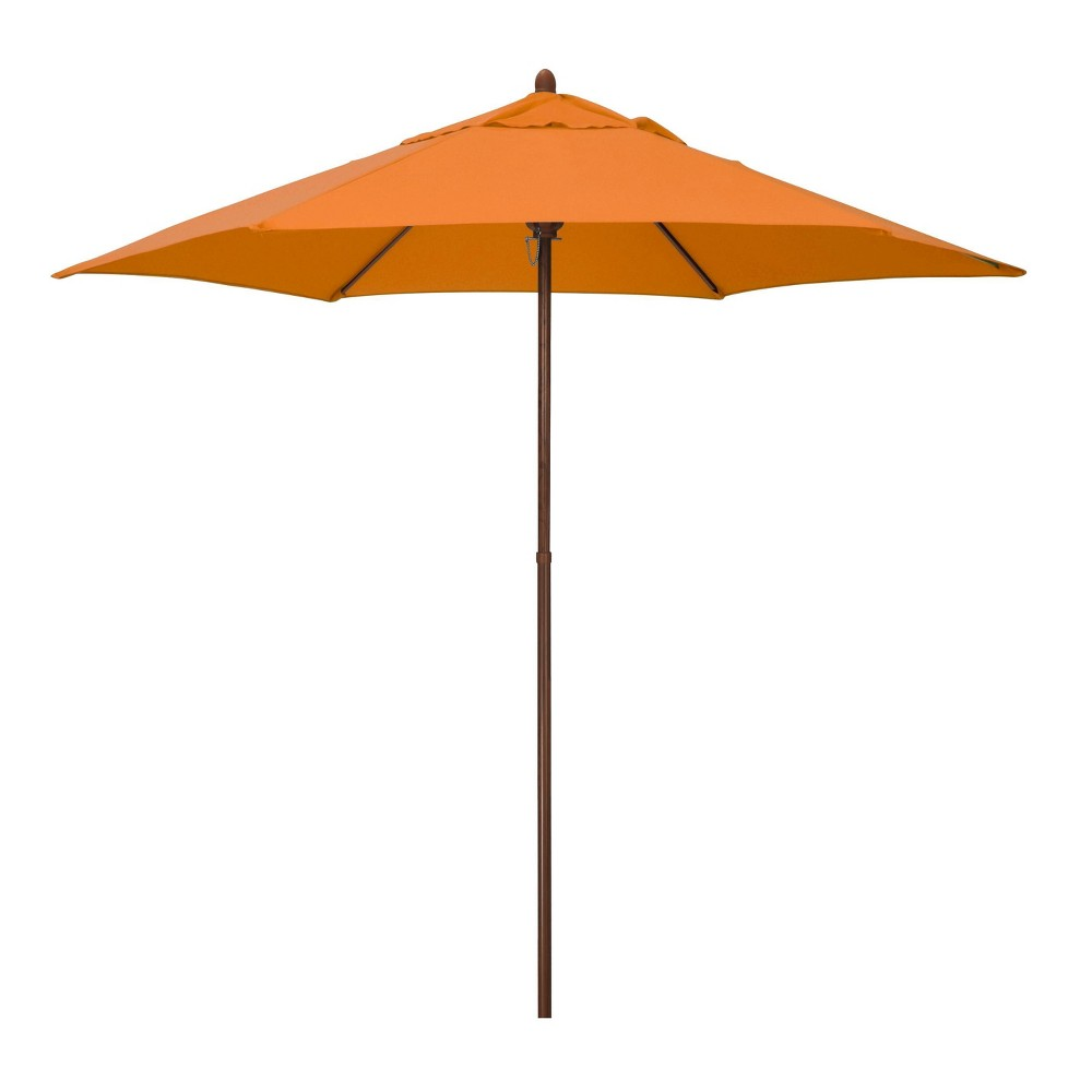 9 39 X 9 39 Round Wood Grain Steel Patio Umbrella Tuscan Astella