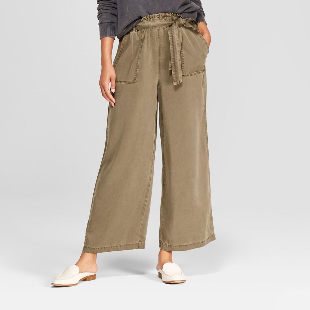 Women's Tie Waist Wide Leg Crop Pants - Universal Thread Olive (Green) M