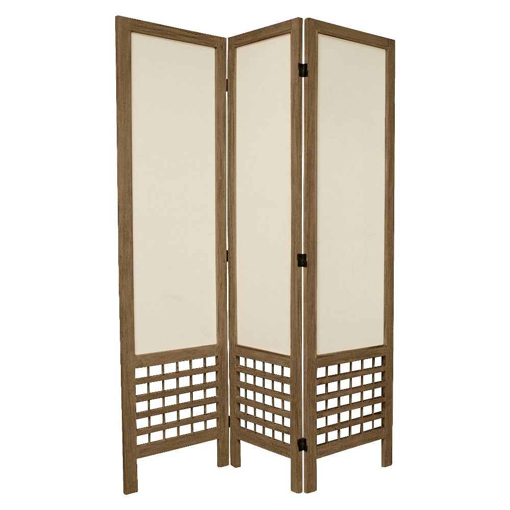 5 1/2 ft. Tall Solid Frame Fabric Room Divider - Burnt Gray (3 Panels), Ash Wood