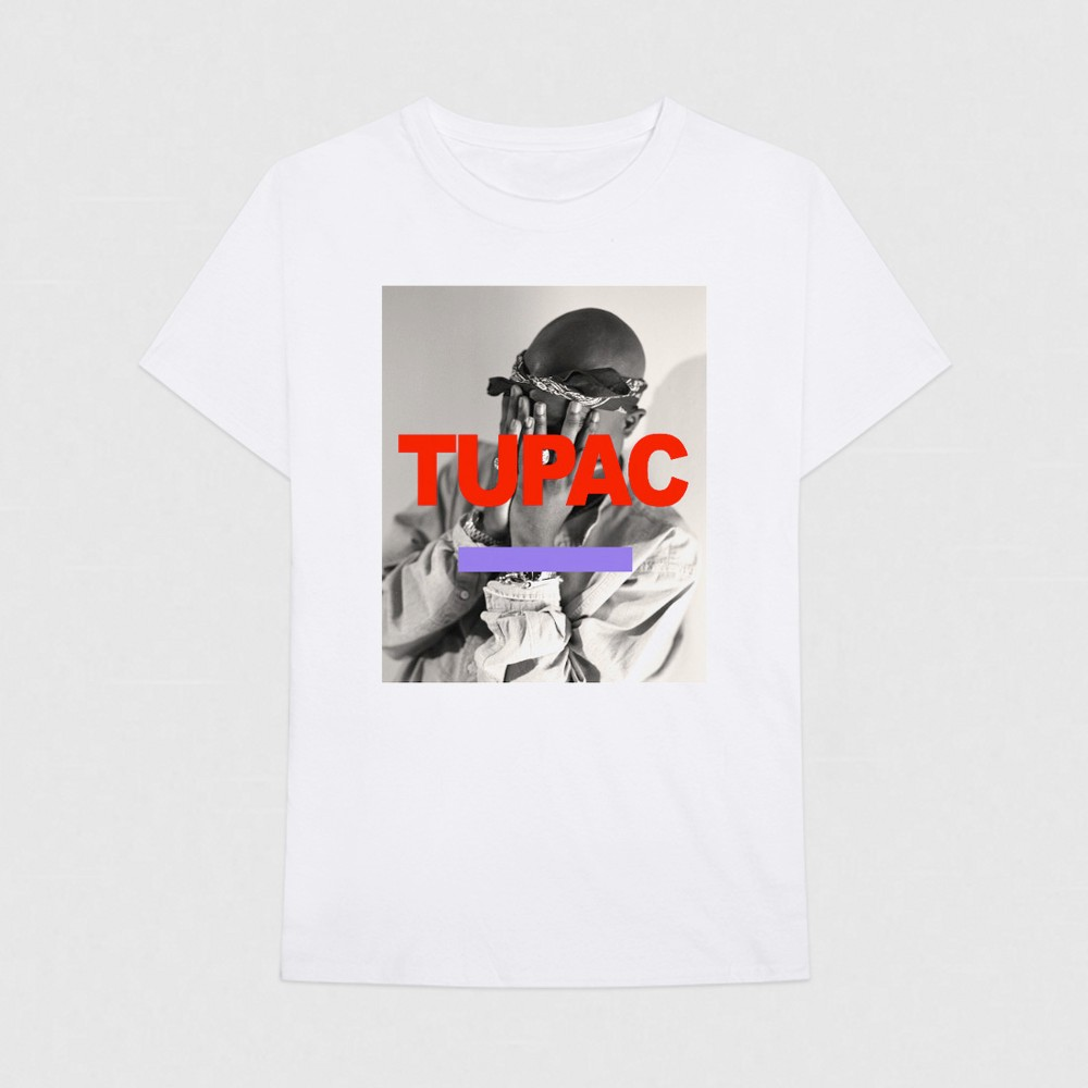 Men's Short Sleeve Tupac Graphic T-Shirt - White L