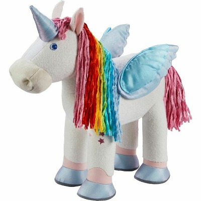 "HABA Unicorn Rainbow Beauty 14"" Plush Horse Doubles as Pegasus with Detachable Wings and Horn"